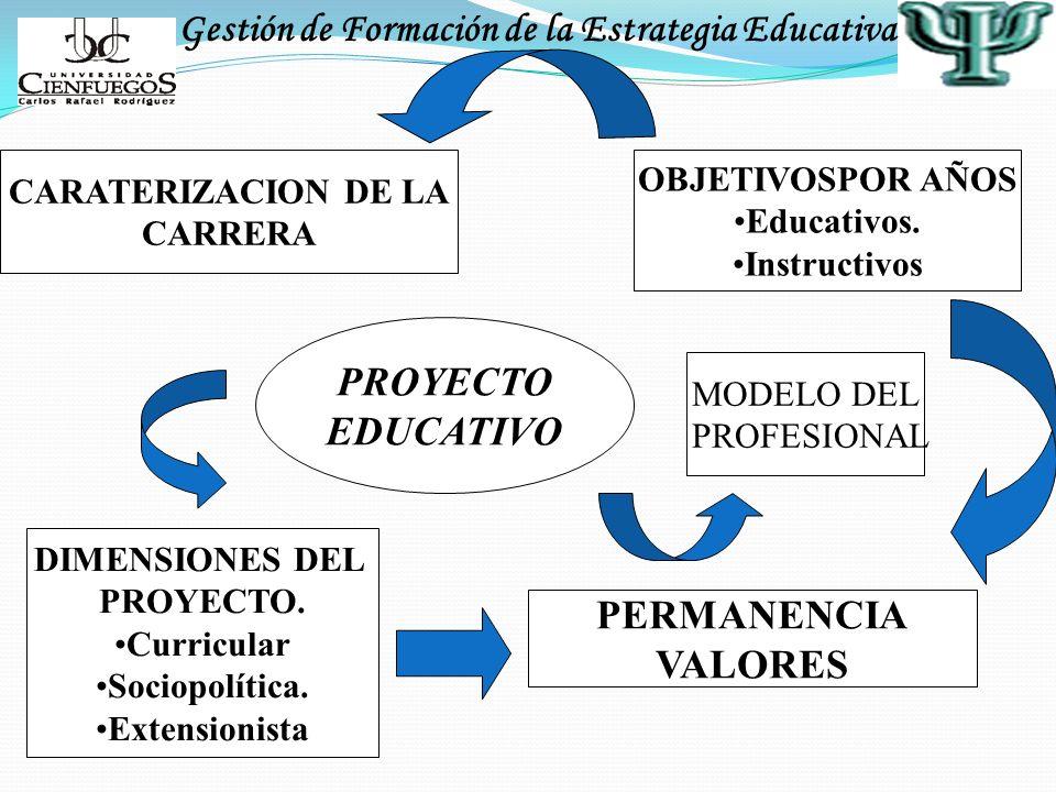Gestión de Formación de la Estrategia Educativa CARATERIZACION DE LA CARRERA PROYECTO EDUCATIVO OBJETIVOSPOR AÑOS Educativos. Instructivos DIMENSIONES