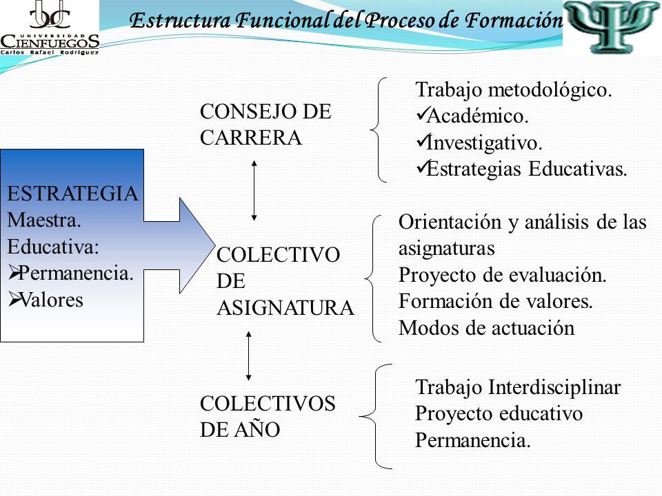 Estructura Funcional del Proceso de Formación CONSEJO DE CARRERA Trabajo metodológico. Académico. Investigativo. Estrategias Educativas. COLECTIVO DE