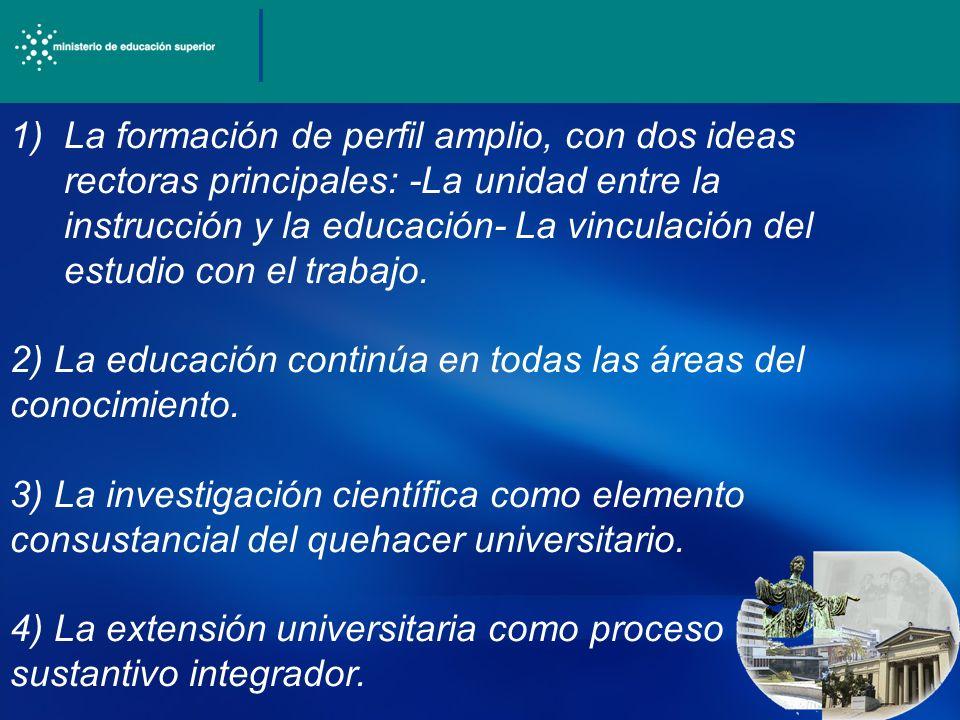 1)La formación de perfil amplio, con dos ideas rectoras principales: -La unidad entre la instrucción y la educación- La vinculación del estudio con el trabajo.