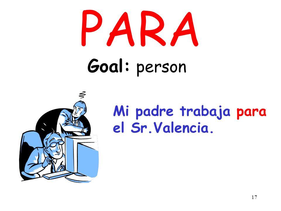 16 PARA Goal: point in time, deadline Necesitas completar el proyecto para el viernes.