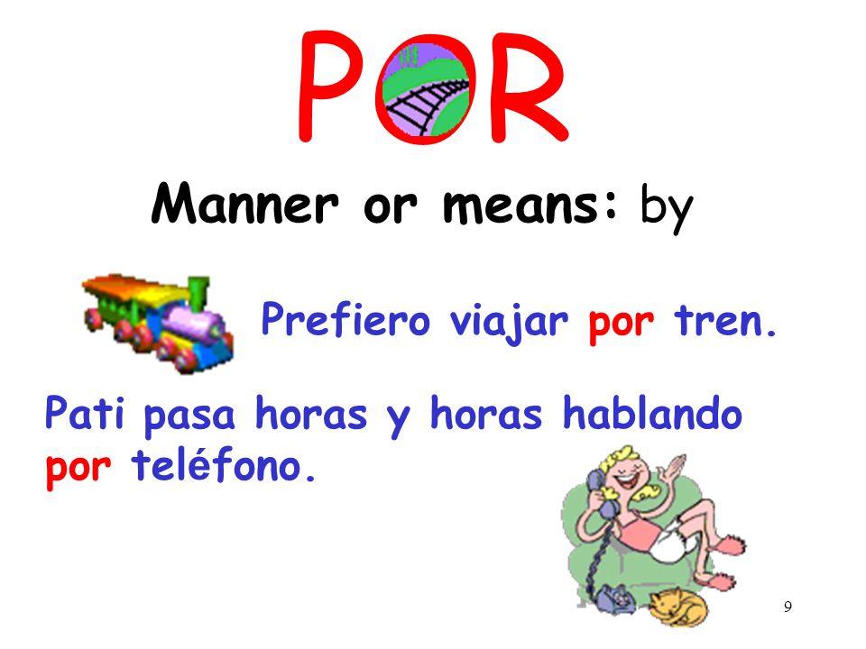 9 POR Manner or means: by Prefiero viajar por tren.