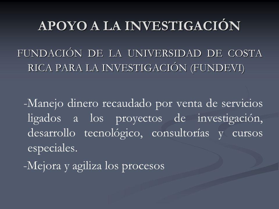 APOYO A LA INVESTIGACIÓN FUNDACIÓN DE LA UNIVERSIDAD DE COSTA RICA PARA LA INVESTIGACIÓN (FUNDEVI) -Manejo dinero recaudado por venta de servicios ligados a los proyectos de investigación, desarrollo tecnológico, consultorías y cursos especiales.