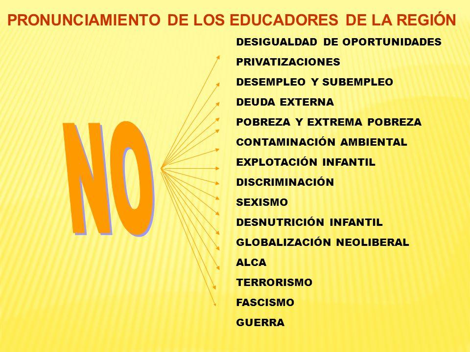 PRONUNCIAMIENTO DE LOS EDUCADORES DE LA REGIÓN DESIGUALDAD DE OPORTUNIDADES PRIVATIZACIONES DESEMPLEO Y SUBEMPLEO DEUDA EXTERNA POBREZA Y EXTREMA POBR