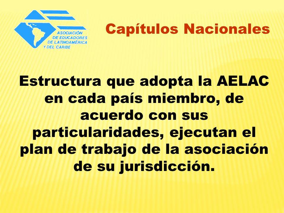 Capítulos Nacionales Estructura que adopta la AELAC en cada país miembro, de acuerdo con sus particularidades, ejecutan el plan de trabajo de la asoci