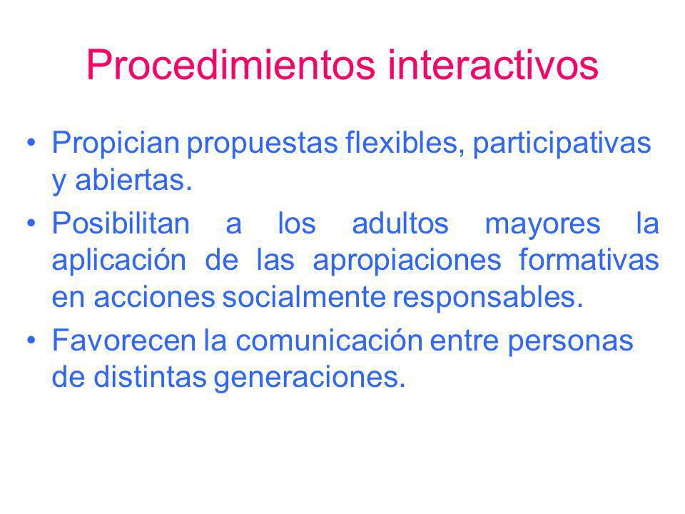 Procedimientos interactivos Propician propuestas flexibles, participativas y abiertas. Posibilitan a los adultos mayores la aplicación de las apropiac