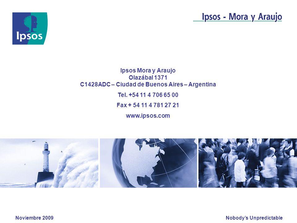 Nobodys Unpredictable Noviembre 2009 Ipsos Mora y Araujo Olazábal 1371 C1428ADC – Ciudad de Buenos Aires – Argentina Tel. +54 11 4 706 65 00 Fax + 54