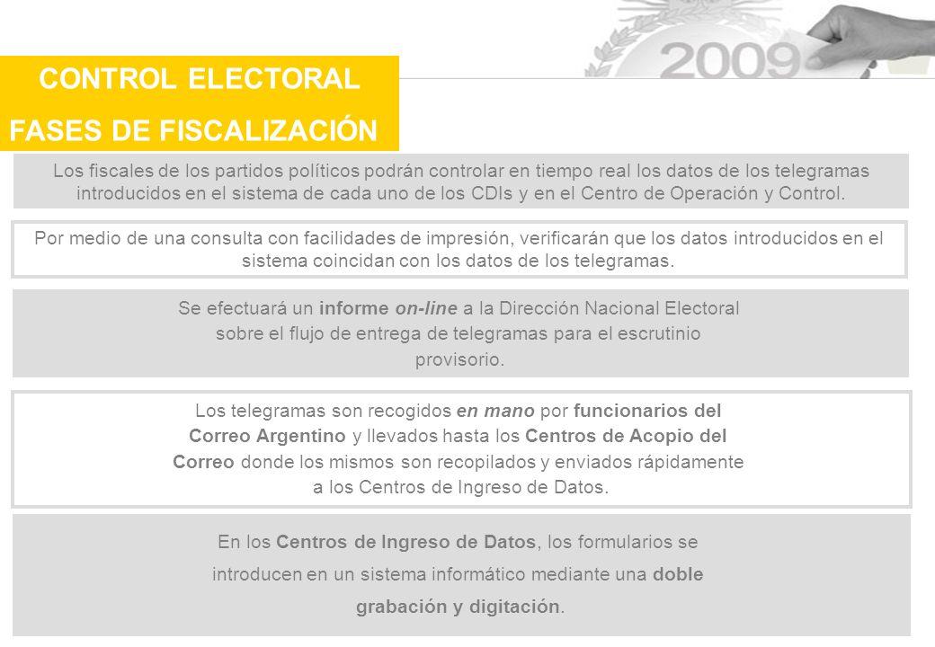 Los fiscales de los partidos políticos podrán controlar en tiempo real los datos de los telegramas introducidos en el sistema de cada uno de los CDIs y en el Centro de Operación y Control.