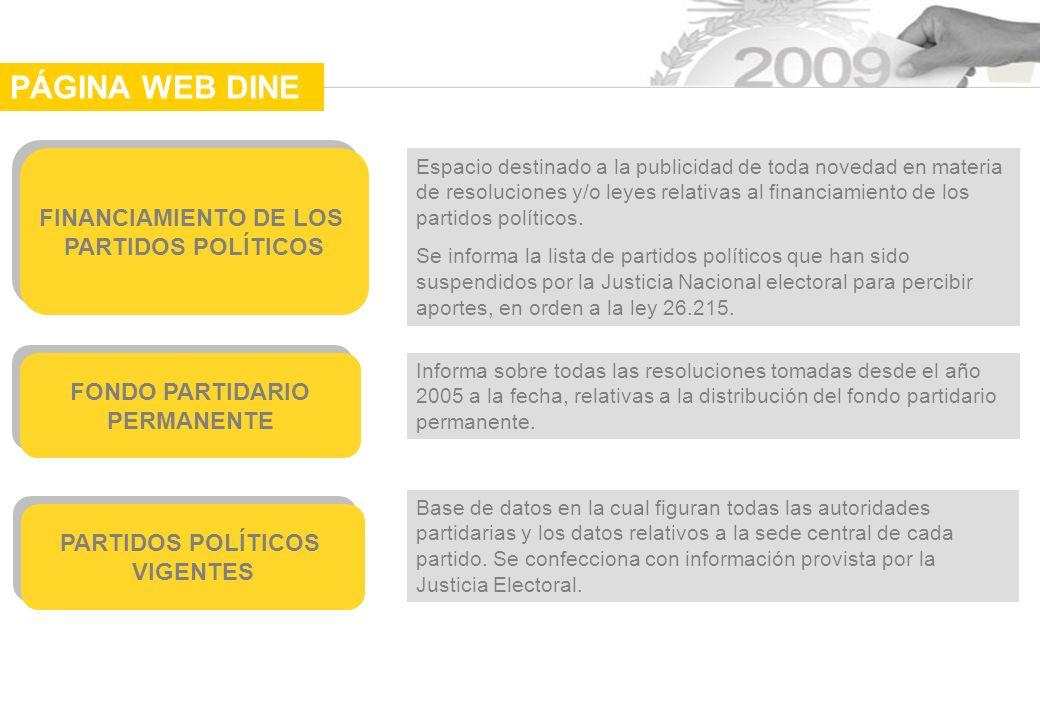 FINANCIAMIENTO DE LOS PARTIDOS POLÍTICOS FINANCIAMIENTO DE LOS PARTIDOS POLÍTICOS Espacio destinado a la publicidad de toda novedad en materia de resoluciones y/o leyes relativas al financiamiento de los partidos políticos.
