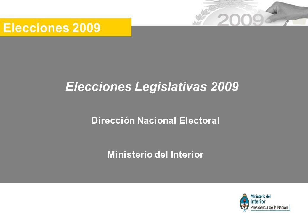 Elecciones Legislativas 2009 Dirección Nacional Electoral Ministerio del Interior Elecciones 2009