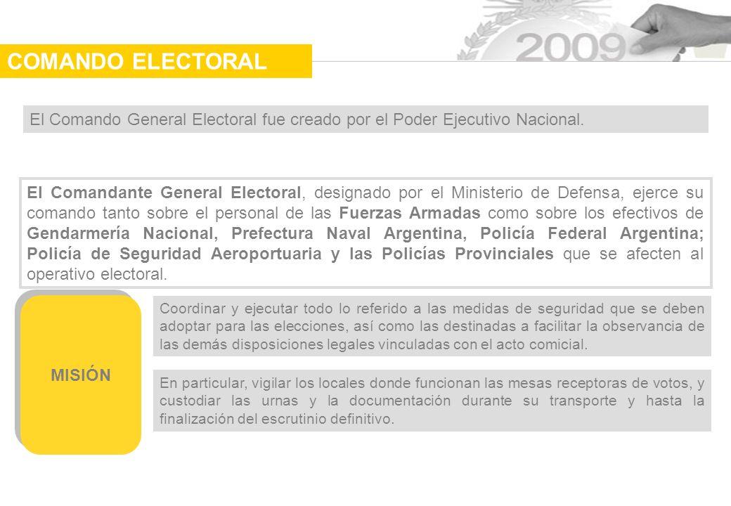 El Comando General Electoral fue creado por el Poder Ejecutivo Nacional.