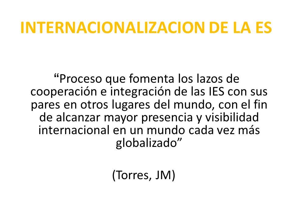 Proceso que fomenta los lazos de cooperación e integración de las IES con sus pares en otros lugares del mundo, con el fin de alcanzar mayor presencia y visibilidad internacional en un mundo cada vez más globalizado (Torres, JM) INTERNACIONALIZACION DE LA ES