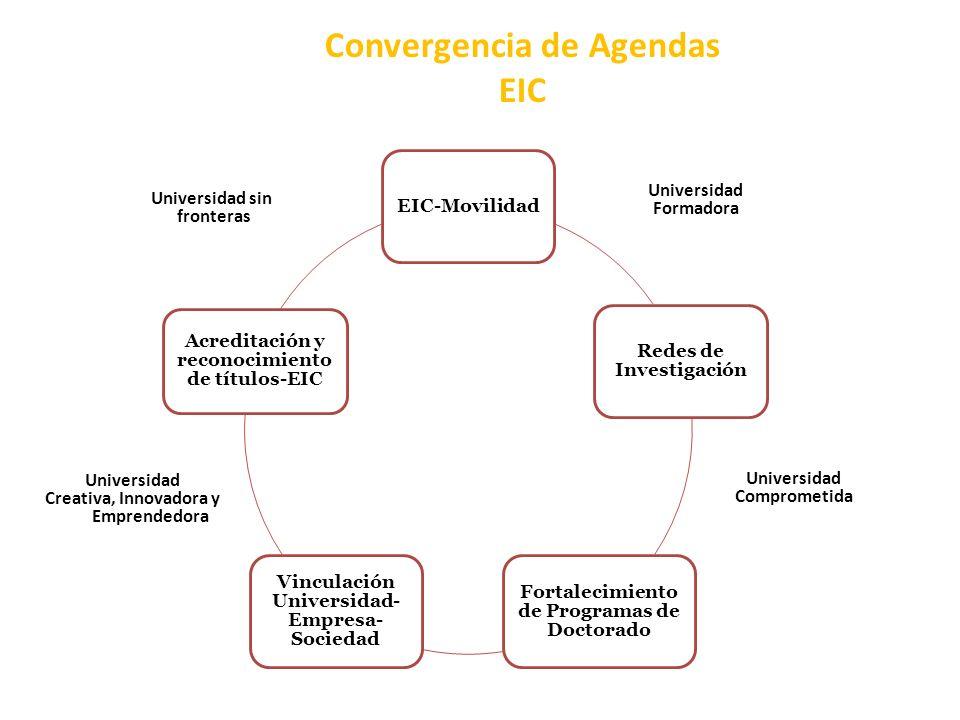 Convergencia de Agendas EIC EIC-Movilidad Redes de Investigación Fortalecimiento de Programas de Doctorado Vinculación Universidad- Empresa- Sociedad Acreditación y reconocimiento de títulos-EIC Universidad sin fronteras Universidad Formadora Universidad Creativa, Innovadora y Emprendedora Universidad Comprometida
