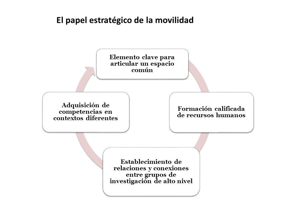 El papel estratégico de la movilidad Elemento clave para articular un espacio común Formación calificada de recursos humanos Establecimiento de relaciones y conexiones entre grupos de investigación de alto nivel Adquisición de competencias en contextos diferentes