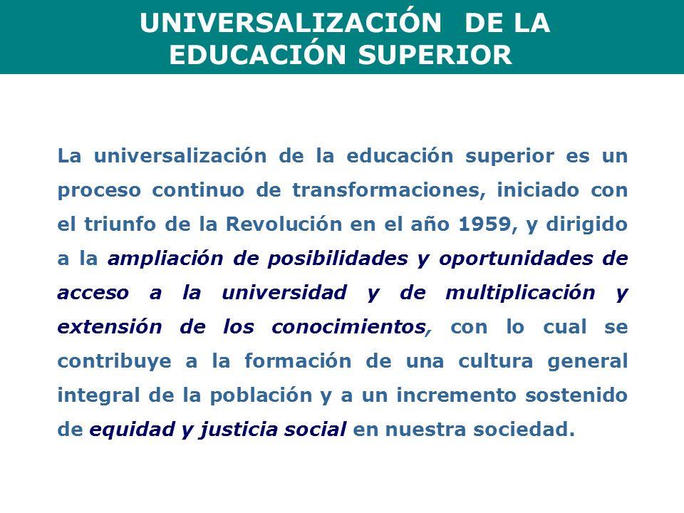UNIVERSALIZACIÓN DE LA EDUCACIÓN SUPERIOR La universalización de la educación superior es un proceso continuo de transformaciones, iniciado con el tri