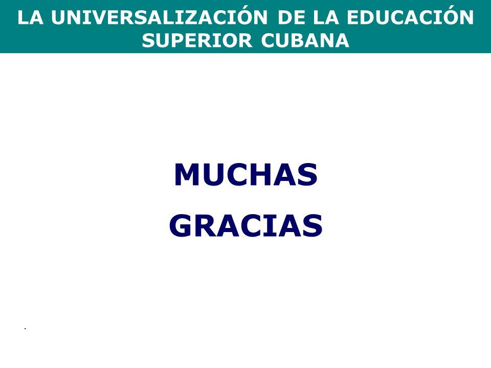 LA UNIVERSALIZACIÓN DE LA EDUCACIÓN SUPERIOR CUBANA. MUCHAS GRACIAS