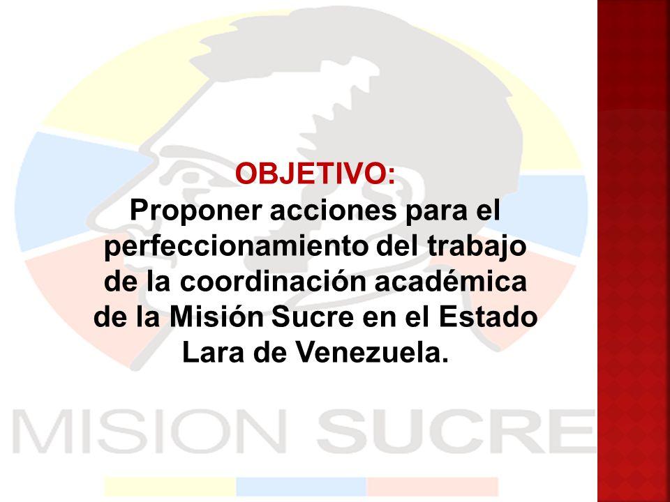 OBJETIVO: Proponer acciones para el perfeccionamiento del trabajo de la coordinación académica de la Misión Sucre en el Estado Lara de Venezuela.