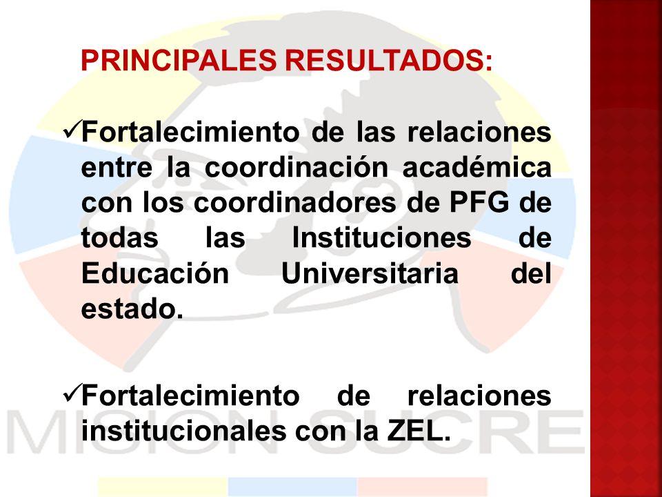 PRINCIPALES RESULTADOS: Fortalecimiento de las relaciones entre la coordinación académica con los coordinadores de PFG de todas las Instituciones de E