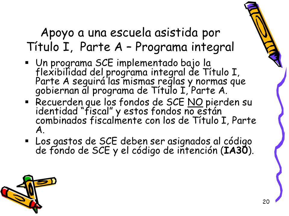 20 Apoyo a una escuela asistida por Título I, Parte A – Programa integral Un programa SCE implementado bajo la flexibilidad del programa integral de T