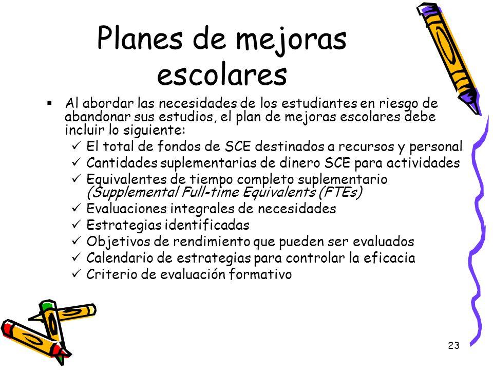 23 Planes de mejoras escolares Al abordar las necesidades de los estudiantes en riesgo de abandonar sus estudios, el plan de mejoras escolares debe in
