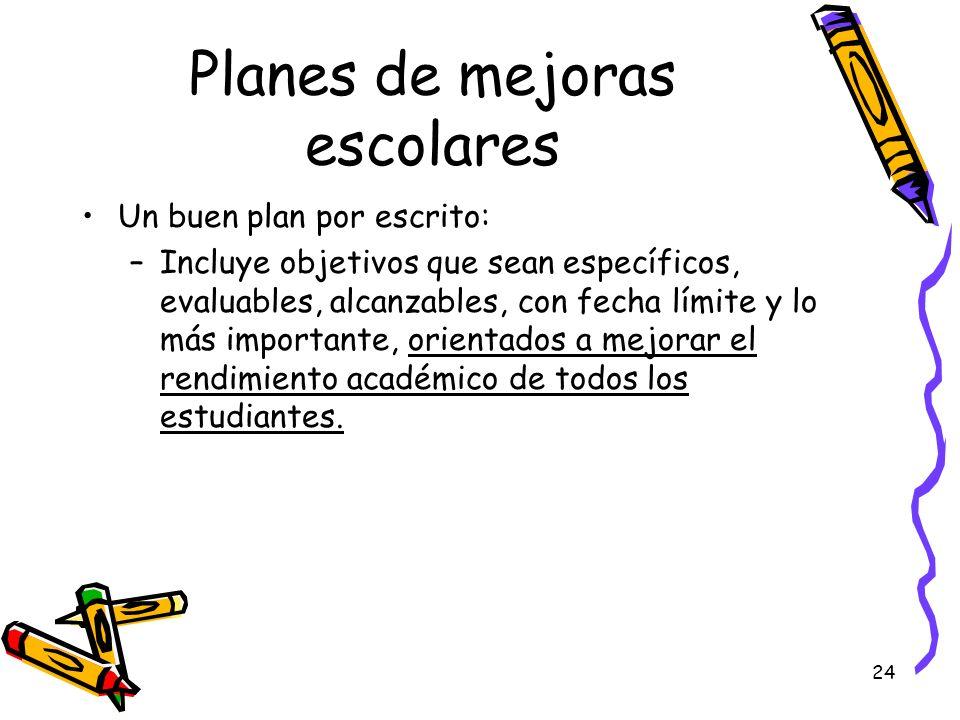 24 Planes de mejoras escolares Un buen plan por escrito: –Incluye objetivos que sean específicos, evaluables, alcanzables, con fecha límite y lo más i