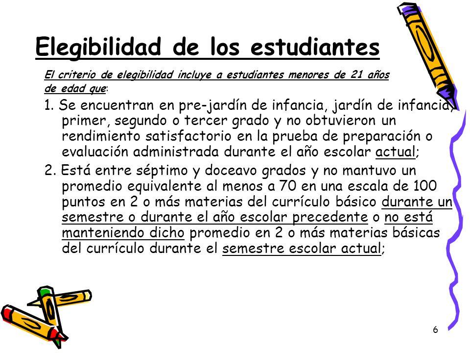 6 El criterio de elegibilidad incluye a estudiantes menores de 21 años de edad que: 1. Se encuentran en pre-jardín de infancia, jardín de infancia, pr