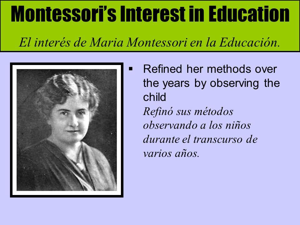 Montessoris Influence Spreads La influencia de Montessori se expande In 1934 she moved to Spain to escape Mussolini s fascist rule En 1934 se muda a España, escapando del gobierno fascista de Mussolini.