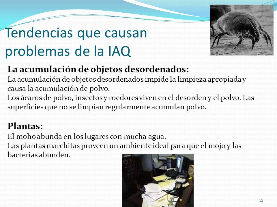 Tendencias que causan problemas de la IAQ La acumulación de objetos desordenados: La acumulación de objetos desordenados impide la limpieza apropiada