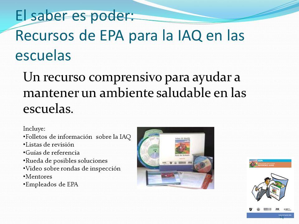 El saber es poder: Recursos de EPA para la IAQ en las escuelas Un recurso comprensivo para ayudar a mantener un ambiente saludable en las escuelas. In