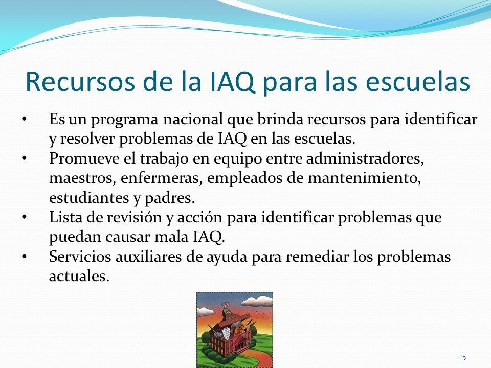 Recursos de la IAQ para las escuelas Es un programa nacional que brinda recursos para identificar y resolver problemas de IAQ en las escuelas. Promuev