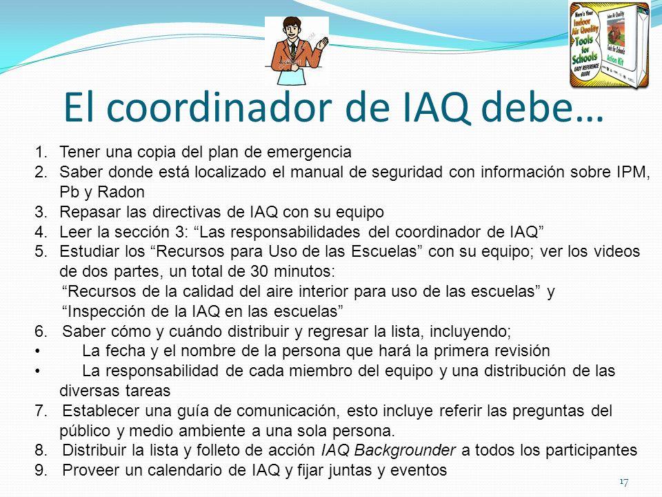 El coordinador de IAQ debe… 1.Tener una copia del plan de emergencia 2.Saber donde está localizado el manual de seguridad con información sobre IPM, P