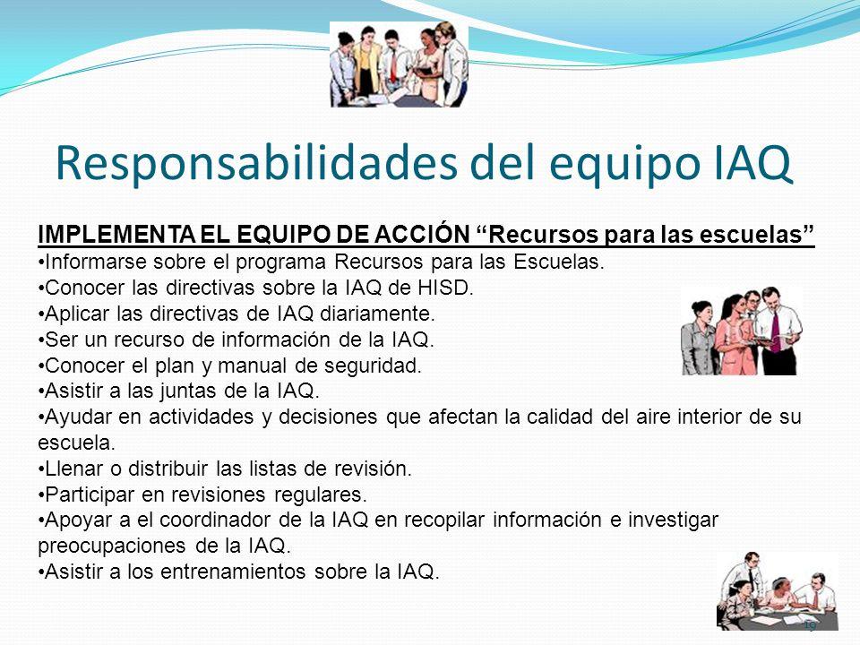 Responsabilidades del equipo IAQ IMPLEMENTA EL EQUIPO DE ACCIÓN Recursos para las escuelas Informarse sobre el programa Recursos para las Escuelas. Co