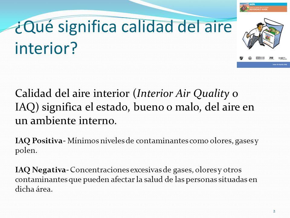 ¿Qué significa calidad del aire interior? Calidad del aire interior (Interior Air Quality o IAQ) significa el estado, bueno o malo, del aire en un amb