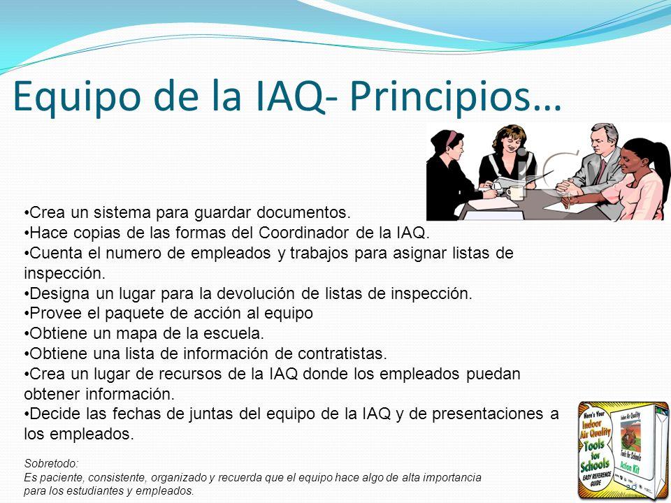 Equipo de la IAQ- Principios… Crea un sistema para guardar documentos. Hace copias de las formas del Coordinador de la IAQ. Cuenta el numero de emplea