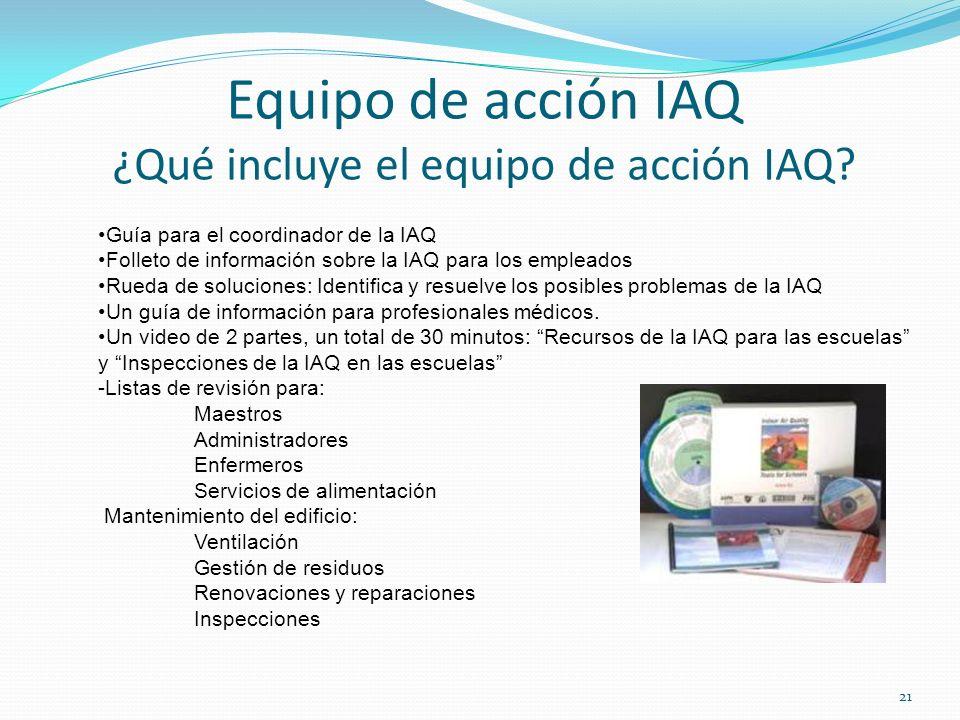 Equipo de acción IAQ ¿Qué incluye el equipo de acción IAQ? Guía para el coordinador de la IAQ Folleto de información sobre la IAQ para los empleados R