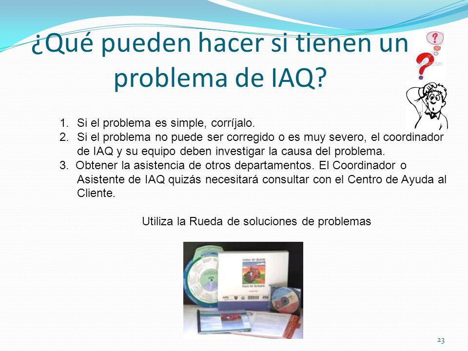 ¿Qué pueden hacer si tienen un problema de IAQ? 1.Si el problema es simple, corríjalo. 2.Si el problema no puede ser corregido o es muy severo, el coo