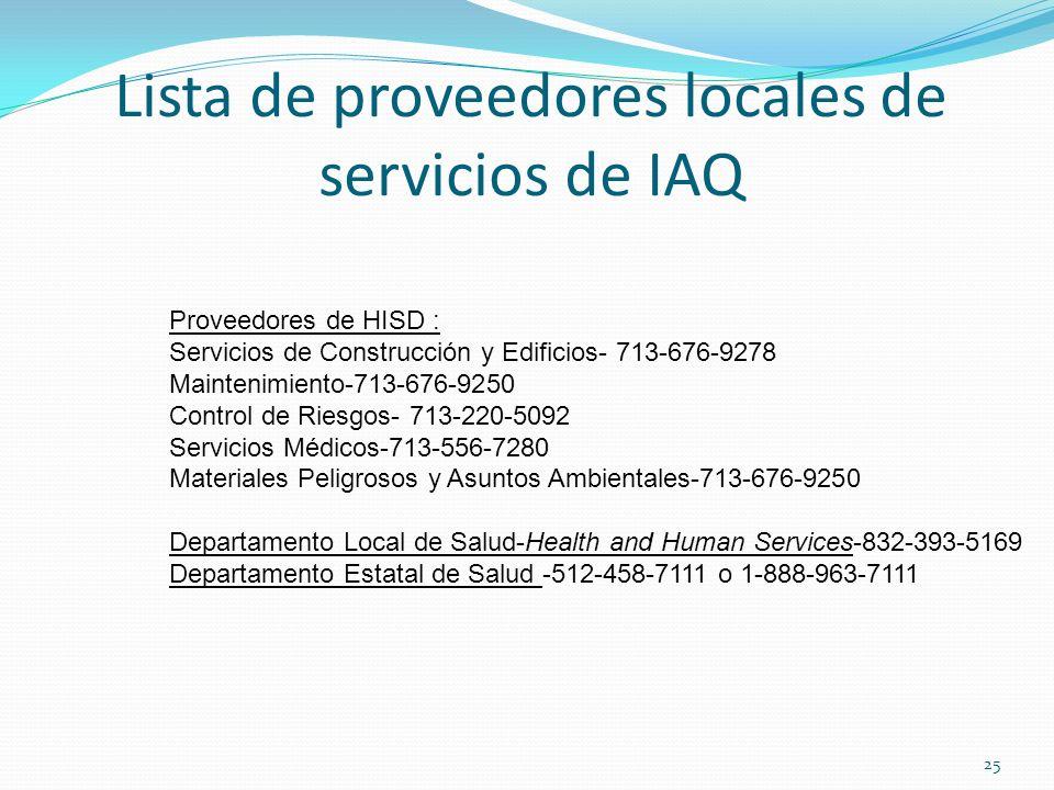 Lista de proveedores locales de servicios de IAQ Proveedores de HISD : Servicios de Construcción y Edificios- 713-676-9278 Maintenimiento-713-676-9250