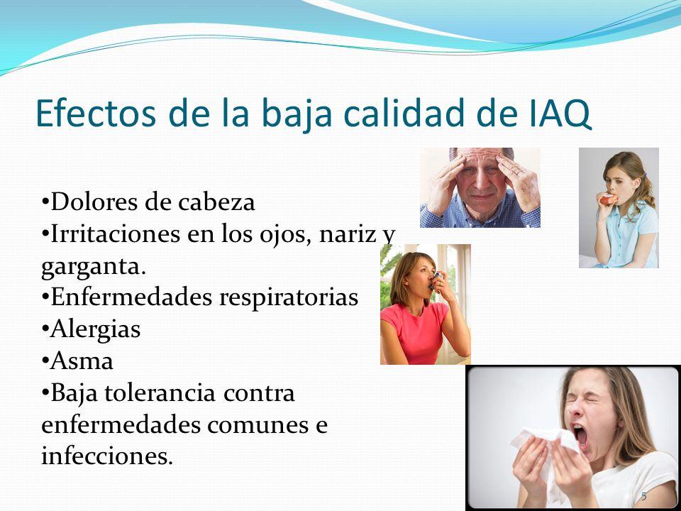 Efectos de la baja calidad de IAQ Dolores de cabeza Irritaciones en los ojos, nariz y garganta. Enfermedades respiratorias Alergias Asma Baja toleranc
