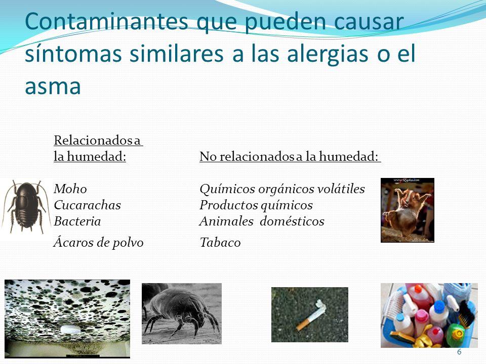 Contaminantes que pueden causar síntomas similares a las alergias o el asma Relacionados a la humedad:No relacionados a la humedad: Moho Químicos orgá