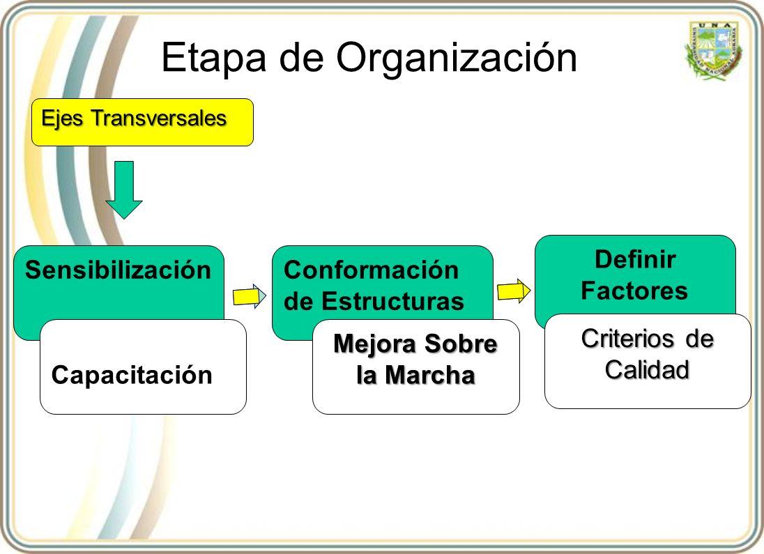 Etapa de Organización SensibilizaciónConformación de Estructuras Definir Factores Ejes Transversales Capacitación Mejora Sobre la Marcha Criterios de