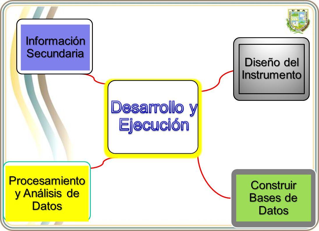 Procesamiento y Análisis de Datos Construir Bases de Datos Diseño del Instrumento Información Secundaria