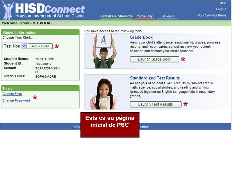Esta es su página inicial de PSC