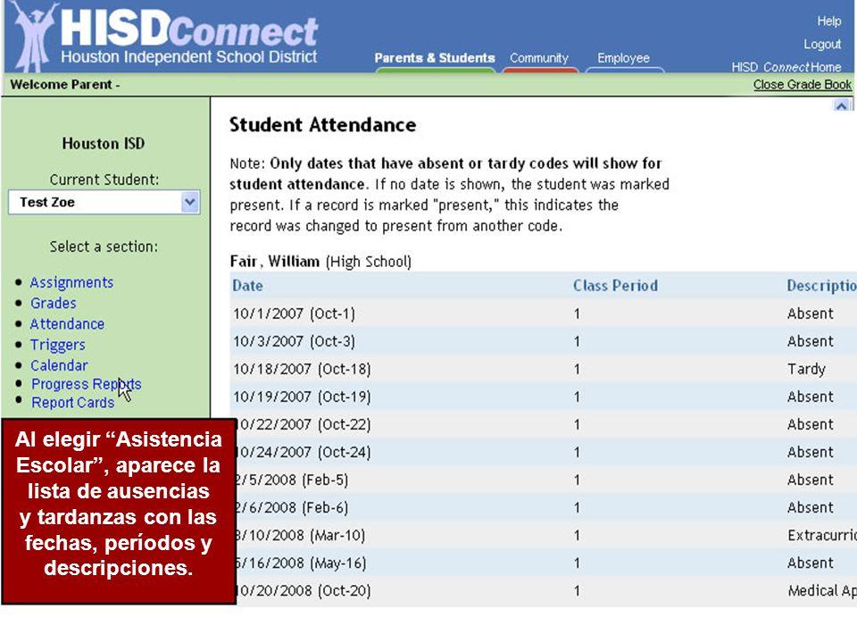 Al elegir Asistencia Escolar, aparece la lista de ausencias y tardanzas con las fechas, períodos y descripciones.
