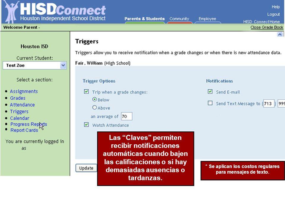 Las Claves permiten recibir notificaciones automáticas cuando bajen las calificaciones o si hay demasiadas ausencias o tardanzas.