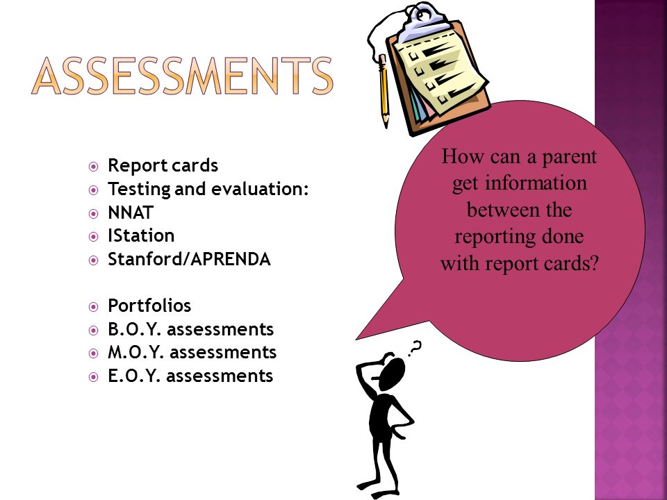 How can a parent get information between the reporting done with report cards? Report cards Testing and evaluation: NNAT IStation Stanford/APRENDA Por