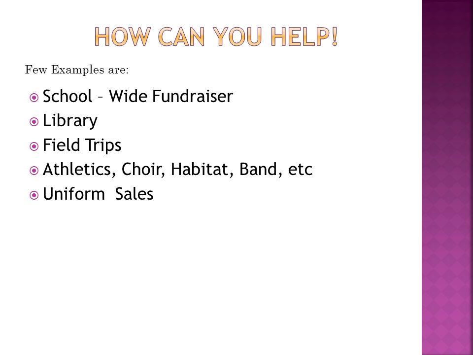 School – Wide Fundraiser Library Field Trips Athletics, Choir, Habitat, Band, etc Uniform Sales Few Examples are: