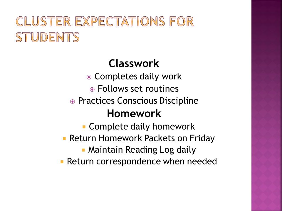 Classwork Completes daily work Follows set routines Practices Conscious Discipline Homework Complete daily homework Return Homework Packets on Friday