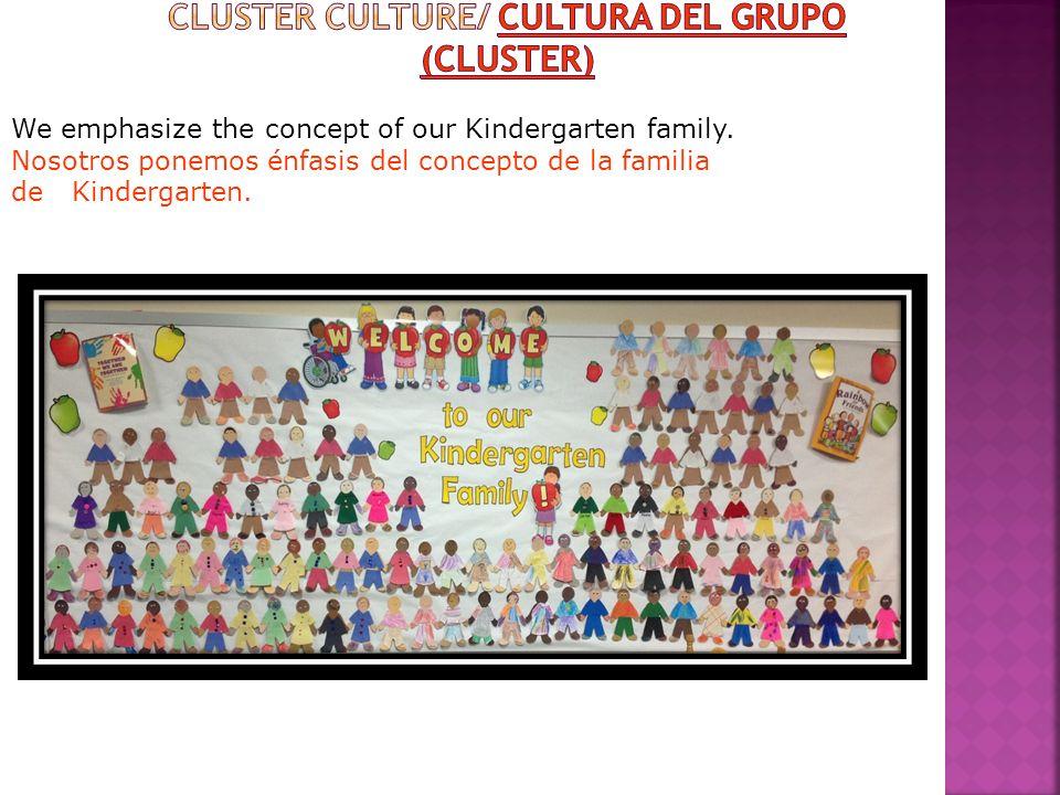We emphasize the concept of our Kindergarten family. Nosotros ponemos énfasis del concepto de la familia de Kindergarten.