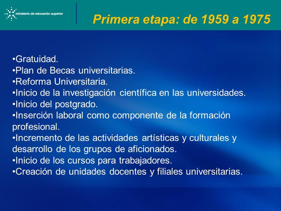 Primera etapa: de 1959 a 1975 Gratuidad. Plan de Becas universitarias. Reforma Universitaria. Inicio de la investigación científica en las universidad