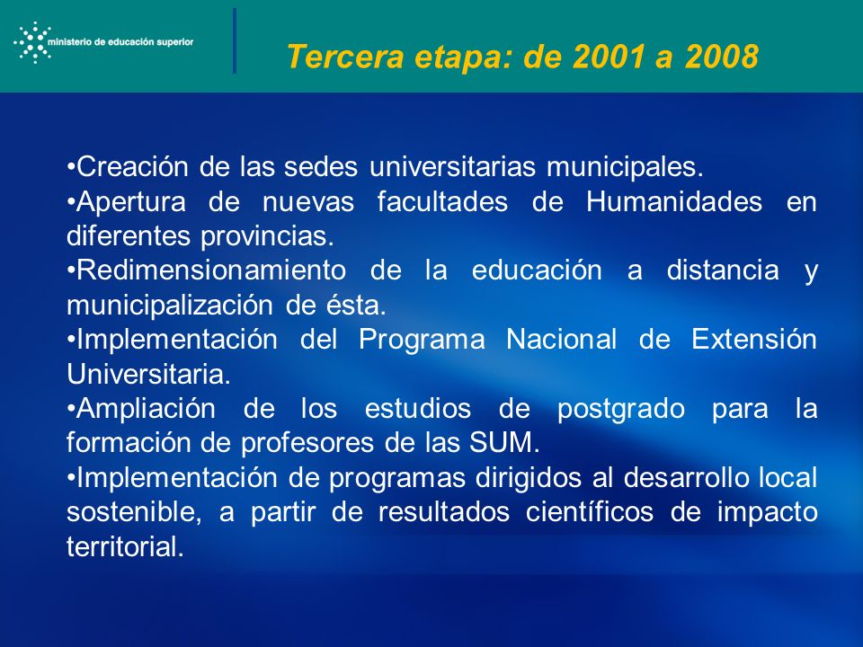 Tercera etapa: de 2001 a 2008 Creación de las sedes universitarias municipales. Apertura de nuevas facultades de Humanidades en diferentes provincias.