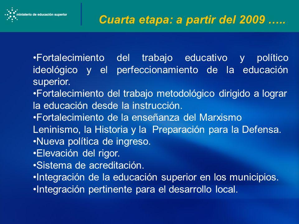 Cuarta etapa: a partir del 2009 ….. Fortalecimiento del trabajo educativo y político ideológico y el perfeccionamiento de la educación superior. Forta